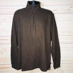 Izod Brown 1/4 ZipUp Pullover Men's Sweater Cotton